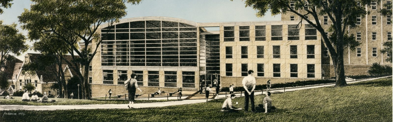 A new Law Building, as seen in this exterior plan, was proposed in the mid-1990s.