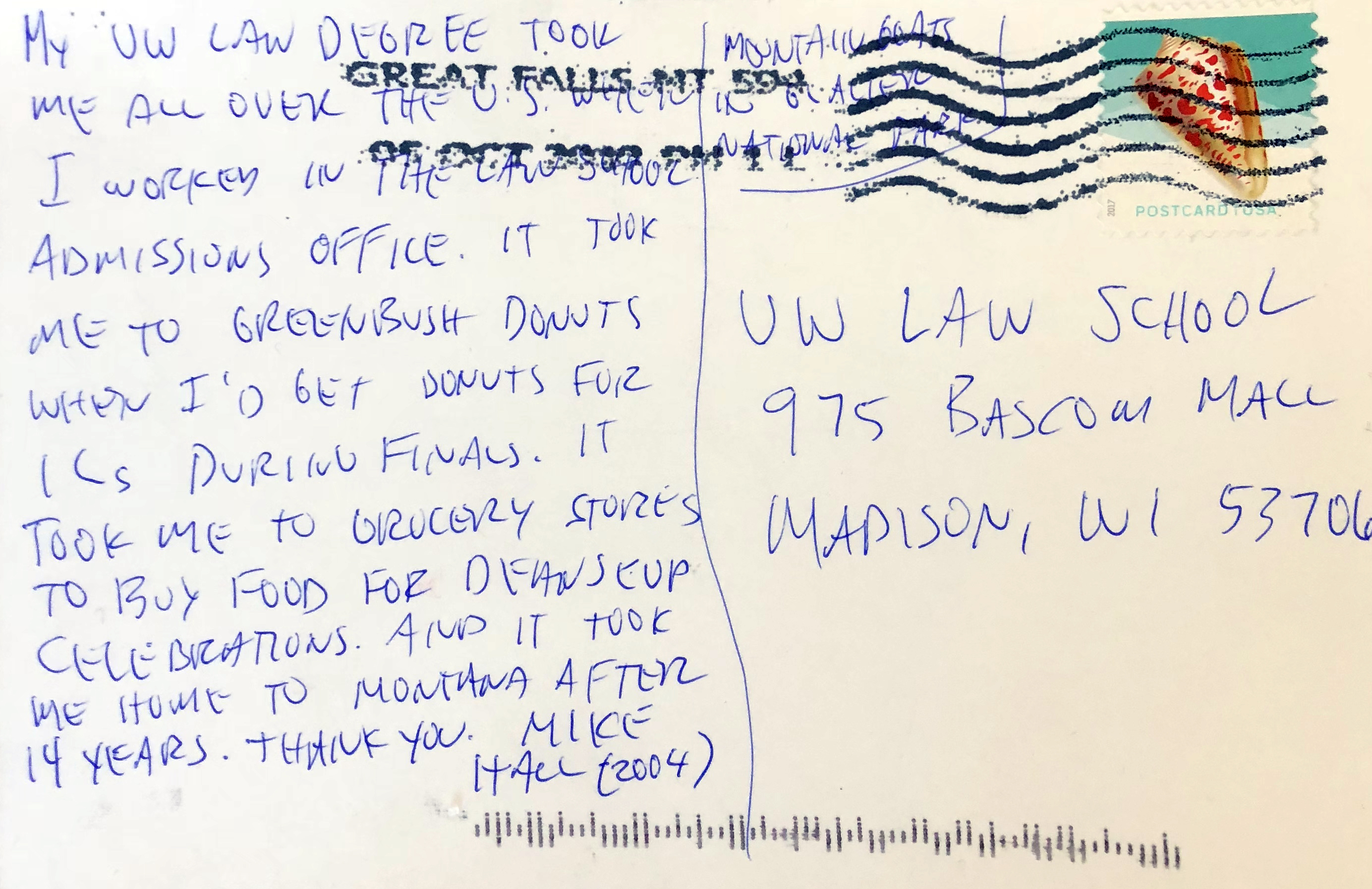 Postcard from Mike Hall '04