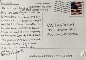 Emily Kelchen's postcard, postmarked Kearny NJ