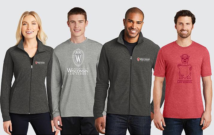 Four models wearing UW Law School apparel