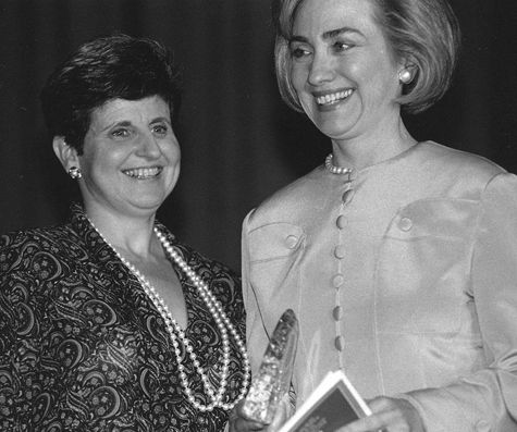 Judith Lichtman with then-First Lady Hilary Clinton