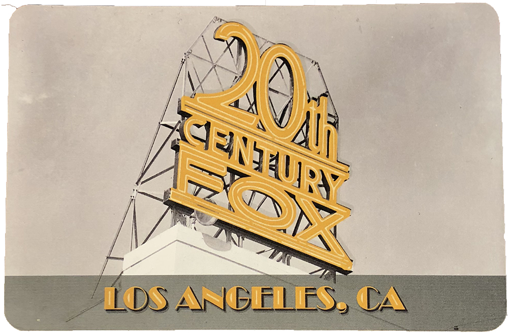 Postcard: 20th Century Fox's classic neon studio sign on Building 89, Los Angeles California
